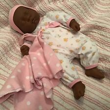 """New ListingVintage Soft Berenguer 19"""" Weighted Lifelike Sleeping African American Baby Doll"""