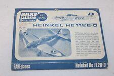 VINTAGE RARE PLANE VACFORMS GERMAN HEINKEL HE 112B-0 AIRPLANE  WW2  1:72 UNBUILT