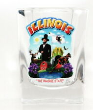 ILLINOIS STATE MONTAGE SQUARE SHOT GLASS SHOTGLASS