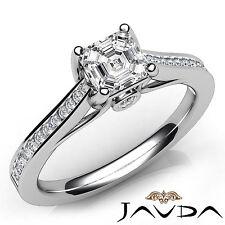 Channel Set Asscher Cut Diamond Engagement Ring GIA E VS1 18k White Gold 1.02Ct