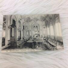 Vintage Black White Monte-Carlo Monaco Le Casino Le Salon Vert Postcard