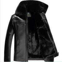 Men Lapel collar Fur Lined zip jackets winter warm coat faux leather Outdoor New