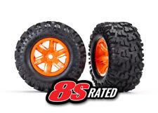 Traxxas 7772T Pre-Mounted Tires & Wheels (2) (Orange) X-Maxx