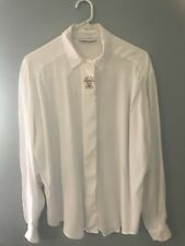 💜 SPORTSCRAFT womens Soft Floaty Rayon White Shirt Blouse Top Sz 16 L XL