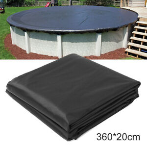 Black Outdoor Swimming Pool Protection Cover fit for Round Frame 3.6m/12 Ft set