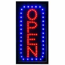 Led Neon Open Sign for Business Displays Vertical Light Up Sign Open with 2 F.