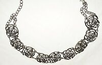 """Open Cut Silver Tone Flowers with Rhinetone Center Necklace Belt Fits 25"""" to 45"""""""