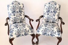 Pair of Chippendale Asian Dragon French Blue Custom Upholstery Solid Mahogany