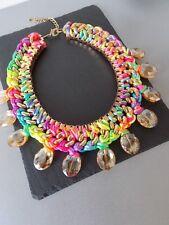 Multi-Color Neón Tejido Cuello Distintivo Collar-Reino Unido Vendedor