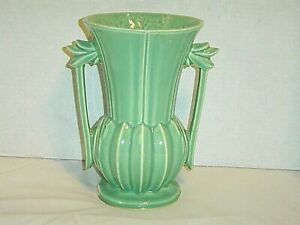 "McCOY TWO HANDLED vase VINTAGE Aqua light green 9"" tall clean small chips VG"