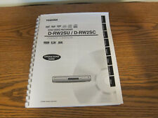 Toshiba D-RW2SU D-RW2SC operating instructions user owner's manual