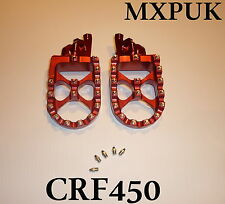 CRF450 2009 FOOTPEGS MXPUK EXTRA WIDE FOOT PEGS CRF 450 2008 IN RED 450R (560)