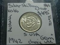 Australia 1942 s Silver Shilling KGVI Coin GEM Choice Uncirculated USA Mint