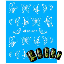 Glow in the Dark White Butterflies Nail Art Water Transfers 22 decals in 1 Pack