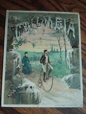ANTIQUE POPE COLUMBIA PENNY FARTHING HIGH WHEEL BICYCLE ADVERTISING TRADE CARD