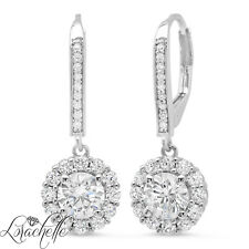 3.5 ct Brilliant Round Halo Drop Dangle Leverback Earrings Solid 14k White Gold