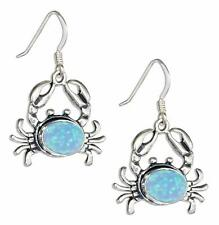 Sterling Silver Crab Concho with Synthetic Blue Opal Dangle Earrings