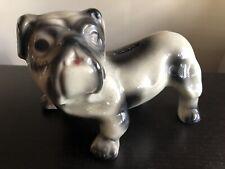 Rare Vintage Bulldog Glazed Pottery Still Piggy Bank Figurine Statue Cute Htf