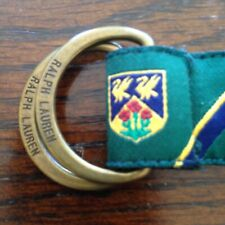 """Ralph Lauren Green 29"""" Satin-Like Collegiate D-Ring Belt w/Blue & Gold Emblem"""