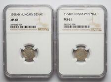 HUNGARY. Ferdinand I Silver Denar, Lot of 2, 1548, 1554, NGC MS61