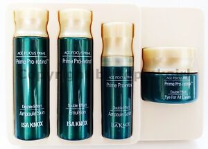 ISA KNOX Age Focus Prime Double Effect 4 items Set,Skin Emulsion Cream Serum New