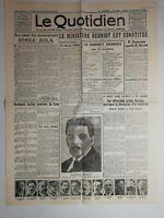 N1034 La Une Du Journal Le quotidien 15 juin 1924 Émile Zola