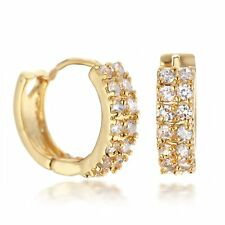 Women Jewelry 18K Gold Filled Small Hoop Huggie Cubic Zirconia Earrings 073AUINF
