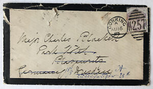 1886 QV 3d Lilac Cover Mourning Dorking to London Redirected =257= Cancel