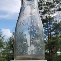 Vintage Milk Bottle A KOESTER NYC New York Pint Round Embossed TREP Slug Plate