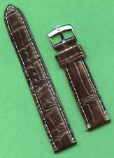 GENUINE ROLEX STEEL BUCKLE & 20mm GEN. BROWN CROCODILE MB BAND STRAP SUBMARINER