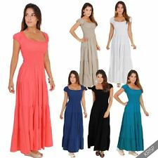 100% Cotton Solid Maxi Dresses for Women