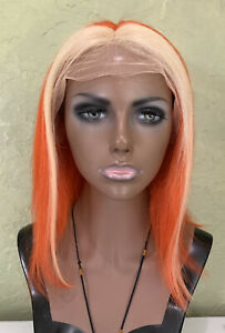 Lace Front 100% Real Human Hair Wig Orange Straight 12 inches