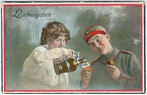 """Deutsche Feldpostkarte """"Liebesgaben"""" Marne 7.2.1916 innerorts gelaufen, RAR"""