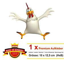 10x12,5 cm Lustiger Auto Aufkleber Huhn Henne Hänchen Hahn chicken Sticker Bike