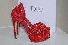New sz 8 / 38 Christian Dior Bracelet Red w/ Gold stud Platform Sandal Shoes