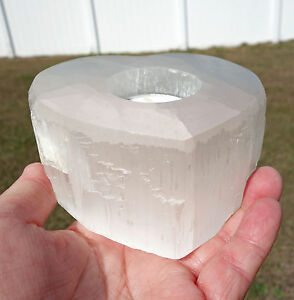 Large Selenite HEART Shape White Candleholder Crystal Love Wedding Gift For Sale