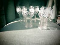 6 1970's Vintage Pepsi Cola Fountain Style Glass With White Lettering SHARP