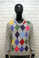 CONTE OF FLORENCE Maglione Uomo Pullover Rombi Taglia XL Sweater Cardigan Lana