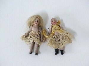 """Two Antique Vintage Miniature Bisque Dolls Small Dolls House Dolls Baby 1.5"""""""
