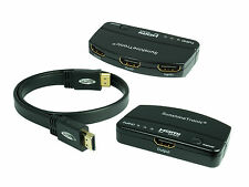 3x1 High Speed HDMI switch + 1,5m HDMI Cable plano | FullHD | HDTV | 3d #301d
