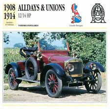 Alldays & Unions 12/14 HP 2 Cyl. 1908-1914 GB/UK CAR VOITURE CARTE CARD FICHE