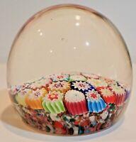 "Vintage Glass Paperweight  2.75"" Tall Millefiori Flowers   CK0497"
