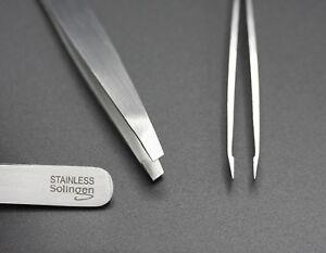 Pinzette schräg 10 cm Solingen Germany Rostfrei Edelstahl Zupfpinzette Stainless