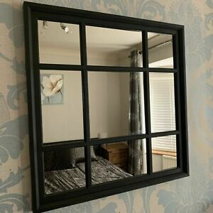 61x61cm Black Window Style Enchanted Wall Mirror Mantel Hallway Square Home NEW
