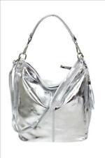 Italy Style silber metallic Beuteltasche Schultertasche Handtasche echt Leder