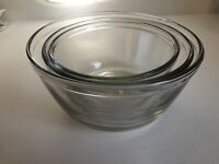 Vintage 3 PC Anchor Ovenware Nesting Glass Mixing bowl set, 1, 1.5, 2.5 QT