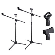 Microphone Stand Foldable Boom Adjustable Holder Tripod Black With 2 Mic Clips