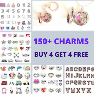FLOATING CHARMS FOR LIVING MEMORY LOCKET FAMILY FRIENDS LETTERS NUMBERS ANIMALS