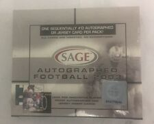 2003 Sage Autographed Football Factory Sealed Hobby Box