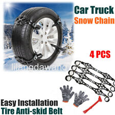 4pcs Simple Winter Car Truck Snow Chain Tire Anti-skid Belt Black Easy Install